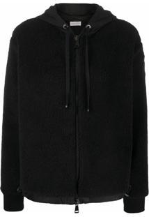 Moncler Jaqueta De Lã Com Zíper E Padronagem - Preto