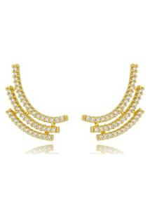 Brinco Ear Cuff Soloyou Dourado Zircônias Cristal Semijoia Ouro 18K Branco