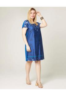 Vestido Curto Floral Em Liganete Wee! Azul Claro - G