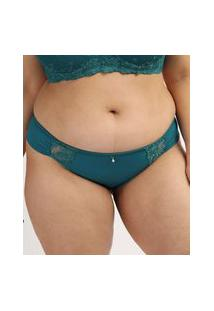 Calcinha Feminina Dilady Plus Size Biquíni Em Microfibra Com Renda Verde Escuro