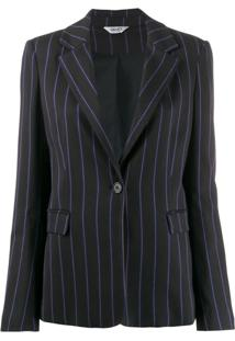 Liu Jo Pinstripe Single Breasted Blazer - Preto