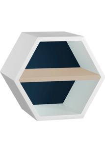 Nicho Hexagonal Favo Ii Com Prateleira Branco Com Azul Noite E Bege