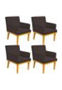 Kit 04 Poltronas Decorativa Para Sala De Estar Base Mel Beatriz W01 Corano Marrom - Lyam Decor