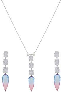 Conjunto Narcizza Semijoias Brinco E Colar Gota Cristal Multicollors - Rainbow Azul E Rosa Ródio