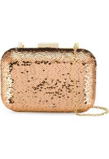 Love Moschino Bolsa Clutch Com Aplicação - Dourado
