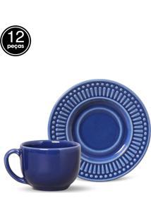 Conjunto De Xícaras De Chá Porto Brasil Roma 12Pçs Azul-Marinho