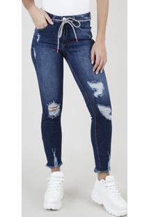 Calça Jeans Feminina Bbb Skinny Cintura Média Destroyed Com Cinto Cadarço Azul Escuro