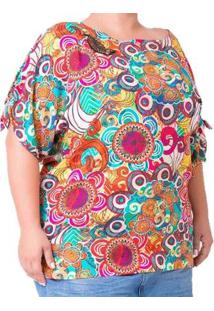 Blusa Casual Aplicação De Miçangas Estampada Plus Size Feminina - Feminino-Laranja
