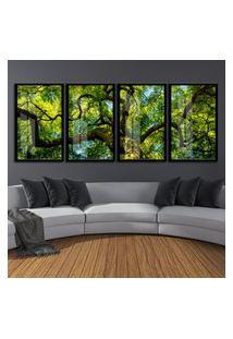 Quadro 80X200Cm Zerura Floresta Árvore Verde Moldura Preta Vidro Cristal