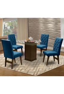 Mesa Para Sala De Jantar Saint Louis Com 4 Cadeiras – Dobuê Movelaria - Castanho / Royal