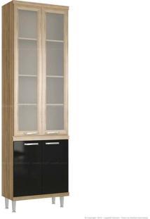 Cristaleira 4 Portas 5121 Sicília Com Vidro 231,5 X 70 X 32 Argila/Preto - Multimoveis