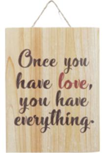 Placa Madeira Love Everything String Bege 15X2,5X20 Cm Urban