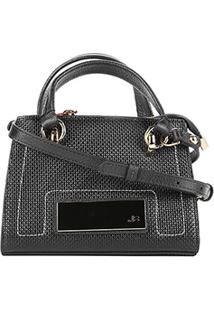 Bolsa Jorge Bischoff Mini Bag Texturizada Feminina - Feminino-Preto