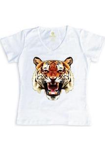 Camiseta Cool Tees Tigre China Town Feminina - Feminino-Branco