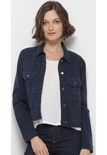 Jaqueta Jeans Mercatto Feminina - Feminino-Azul Escuro