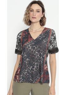 Blusa Animal Print Com Renda- Marrom & Cinza- Cottoncotton Colors Extra