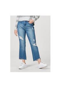 Calça Feminina Em Jeans De Algodão Destroyed