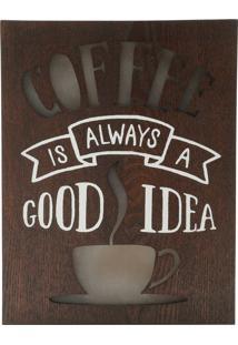 Quadro Madeira Light Box Coffe Good Idea 20X3,5X26 Cm Com Led Urban