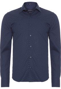 Camisa Masculina Micro Estampa - Azul Marinho