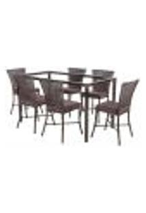 Jogo De Jantar 6 Cadeiras Turquia Pedra Ferro A21 E 1 Mesa Retangular Sem Tampo Ideal Para Área Externa Coberta