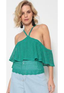 Blusa Em Tric㴠Vazado Com Babados - Verde ÁGua - Mormorena Rosa