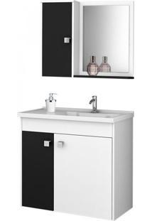 Gabinete Para Banheiro Com Cuba E Espelheira Munique Móveis Bechara Branco/Preto