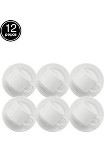 Conjunto De Xicaras De Chá Oxford Cerâmica Donna 12 Peças Branco