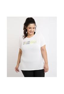 "Regata Feminina Plus Size Pretty Strong"" Ace Esporte Decote Redondo Branca"""