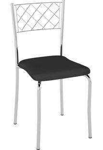 Kit C/ 2 Cadeiras Assento Preto Pozza