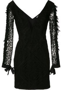 Martha Medeiros Vestido Curto Rendado - Preto