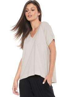 Camiseta Liz Decote V Bege - Bege - Feminino - Algodã£O - Dafiti