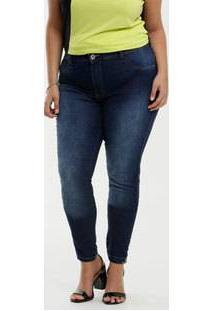 Calça Jeans Skinny Feminina Strass Plus Size Biotipo