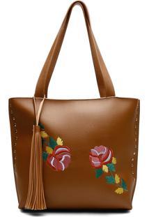 Bolsa Alice Monteiro Sacola Com Metais Bordado Floral Grande Franja Caramelo