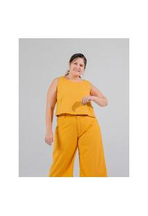 Calça Pantacourt Almaria Plus Size Miss Taylor Bolso-Faca Amarelo