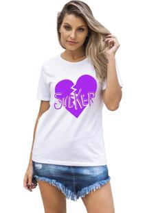 Camiseta Feminina Joss Sucker Roxo Branco