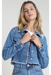 Jaqueta Jeans Feminina Bbb Cropped Destroyed Com Barra Desfiada Azul Médio