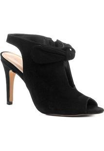 Sandália Couro Shoestock Salto Fino Laço Feminina - Feminino-Preto