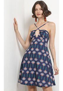 Vestido Mercatto Evasê Estampado Decote Transpassado Amarração Costas - Feminino-Azul Escuro