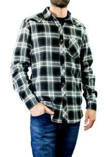 Camisa Xadrez Masculina Red Nose Flanela - Masculino-Preto