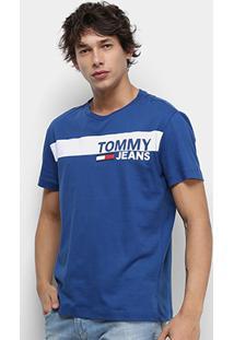 Camiseta Tommy Jeans Essential Box Logo Tee Masculina - Masculino-Azul