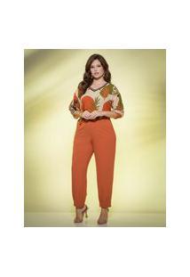 Blusa Almaria Plus Size New Umbi Com Decote Punho Multicolorido