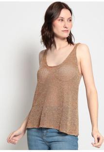 Blusa Em Tricô Com Fio Metalizados- Marrom & Douradaeva