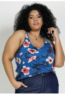 Blusa Floral Azul Alças Duplas Plus Size