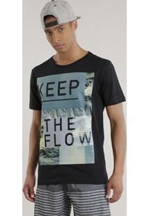 """Camiseta """"Keep The Flow"""" Preta"""