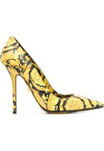 Versace Scarpin Com Estampa Barroca - Amarelo