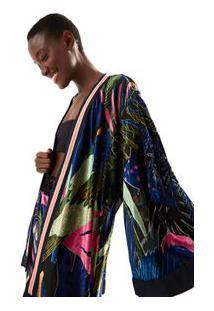 Kimono Veludo Cores Da Selva