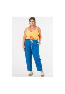 Calça Slouch Linho Plus Size Azul