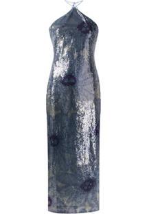 Jacquemus Vestido Floral Com Paetês - Azul