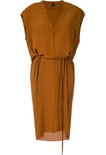 Osklen Vestido Decote V Em Seda - Marrom