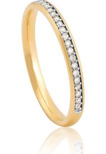 Aliança De Ouro 18K Anatômica Com Filete De Diamantes Rodinados (2,20Mm)
